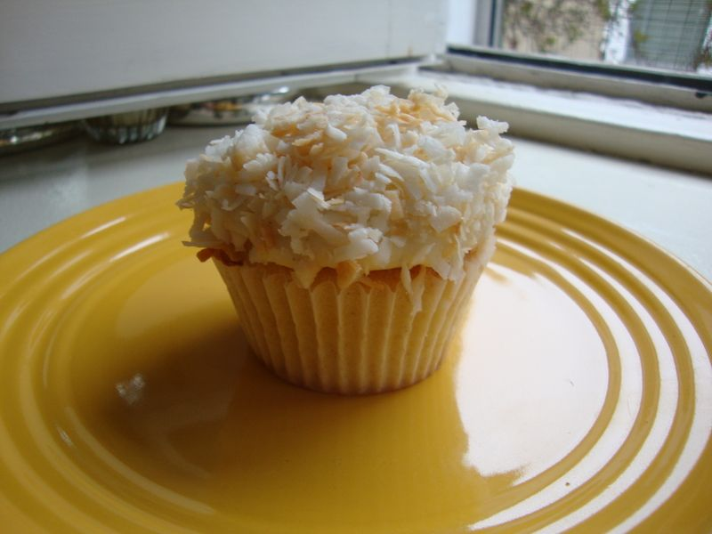 Vanilla-Bean Coconut Cupcakes with Coconut Frosting